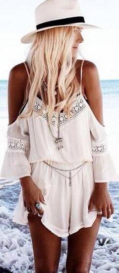 Dew Shoulder V Neck Chiffon Lace Long Sleeve Short Jumpsuit