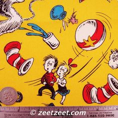 Pictures of CELEBRATION Yellow by Dr. Seuss - The Cat In the Hat Character Quilt Fabric