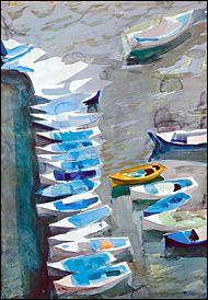 Ydra - Panayiotis Tetsis Greek Blue, Greek Art, Greece Painting, Sky Painting, Art History Major, Blues Artists, Post Impressionism, Art Database, Conceptual Art