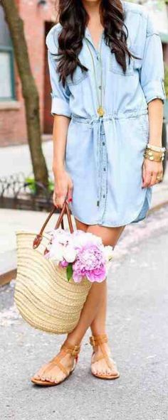 Jeanskleider Kleid aus Jeansstoff Hemdkleid Sommermode Some Cool Ideas for Outfits for School Of cou Spring Outfits For Teen Girls, Cute Spring Outfits, Casual Summer Outfits, Outfits For Teens, Spring Clothes, Denim Dress Outfit Summer, Dress Summer, Preppy Casual, Jeans Casual