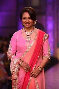 Sharmila Tagore wearing a ruby and polki ensemble at the IIJW Birdhichand Ghanshyamdas show.