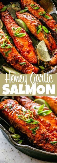 HONEY GARLIC SAUCE SALMON A simple sauce prepared with honey, soy sauce, garlic and lime juice adds a ton of flavor to this simple salmon recipe. - My Website 2020 Garlic Salmon, Baked Salmon, Salmon Recipe Soy, Soy Sauce Fish Recipe, Soy Honey Salmon, Recipes Using Fish Sauce, Baked Fish, Easy Salmon Recipes, Eating Clean