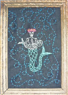 """""""Mirabelle"""" by artist Mavis Leahy, Hand embroidered on repurposed linen in antique wood frame., 5"""" W x 6 ¾"""" H, SOLD"""