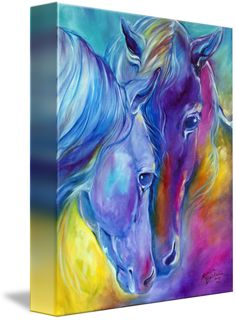 """""""LOVING+SPIRITS+Color+My+World+with+Horses""""+by+Marcia+Baldwin,+Wesley+Chapel,+Florida+//+An+original+oil+painting+by+Marcia+Baldwin+from+her+series+of+Color+My+World+With+Horses+//+Imagekind.com+--+Buy+stunning+fine+art+prints,+framed+prints+and+canvas+prints+directly+from+independent+working+artists+and+photographers."""