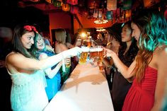 Instead of the bridesmaids catching a bouquet, they had a beer drinking race.
