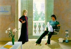 David Hockney, 'Mr. and Mrs. Ossie Clark and Percy'. // One of my favorite portraits ever. I'm just sorry the genius of Celia Birtwell was buried under her husband's name here. PS: That's not Percy, that's their other cat, Blanche. Percy refused to pose that day.