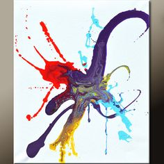 Starburst - Abstract Art Painting 16x20 Canvas Original  Modern by wostudios, $59.00