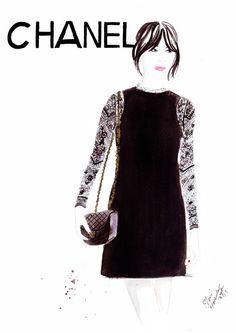 Watercolour illustration Titled Chanel Girl door FallintoLondon