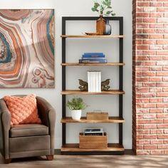 Arlington Sheesham Bookcase | Grandin Road Bookshelf Storage, Wood Shelves, Large Shelves, Dog Sofa Bed, Grandin Road, Living Room Furniture, Furniture Storage, Living Rooms, Furniture Design