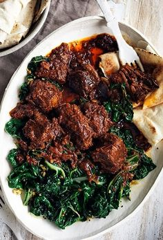ETHIOPIAN BEEF STEW & CHARD ~~~ i have not yet tried the homemade berbere spice mix instructions shared on this post's link, but have really been enjoying the berbere ingredient ratios of the post at http://www.daringgourmet.com/2013/08/26/berbere-ethiopian-spice-blend/ [Ethiopia] [Eritrea]  [gourmettraveller] [daringgourmet]