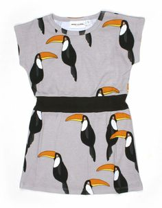 Greybrown toucan dress - Mini Rodini