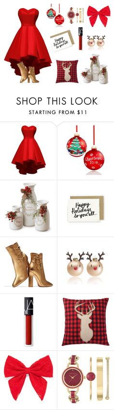 """Christmas 2016"" by fashion2religion ❤ liked on Polyvore featuring Holiday Lane, National Tree Company, Gianvito Rossi, NARS Cosmetics, Home Decorators Collection, Carole, Anne Klein, Christmas, reddress and decor"