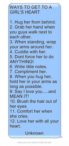 WAYS TO GET TO A GIRL'S HEART ❤️