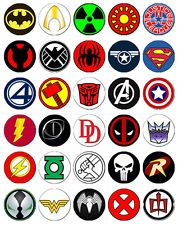 30 x Superhero Logos Rice Paper Fairy Cup Cake Toppers / decorations