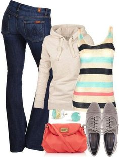 Comfy Stripes & Oxfords ♥  Maybe not the shoes, but I love the rest of it