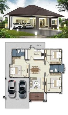 3 Concepts Of 3 Bedroom Bungalow House Modern House Floor Plans, Sims House Plans, House Layout Plans, House Layouts, Bungalow Floor Plans, House Design Plans, Three Bedroom House Plan, Family House Plans, 3 Bedroom Home Floor Plans