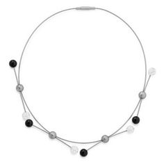 #Collier with SE-clasp.  Hypoallergenic  Stainless Steel 4 x 3 spheres stainless steel/onyx/rock crystal Ø 8 mm.