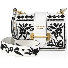 Prada Madras Embroidered Cahier Shoulder Bag (10.100 BRL) ❤ liked on Polyvore featuring bags, handbags, shoulder bags, prada, bolsas, white leather shoulder bag, leather handbags, white shoulder handbags, leather purses and leather man bags