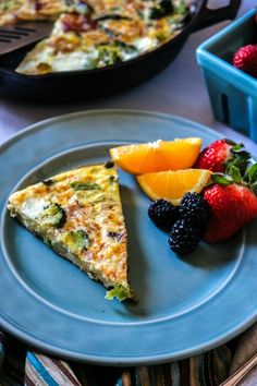 Gluten Free Roasted Spring Vegetable Frittata: Asaparagus and broccoli are sauteed with bacon and then baked with eggs for a delightful meal.