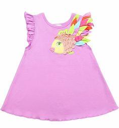 Lemon Loves Lime Girls Lilac Rainbow Fish Tank Shirt
