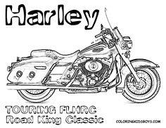 Harley-Davidson Road King drawing | Harley Davidson Coloring Page FLHRC Road King