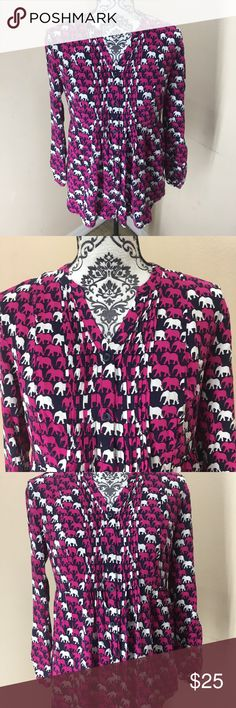 Crown and ivy pin tucked elephant print blouse Great condition! Like new! Super cute navy and pink elephant pattern. Pin tucked style down the front. Mid length sleeves with button. Super cute statement blouse! crown and ivy Tops Blouses