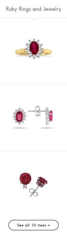 """""""Ruby Rings and Jewelry"""" by applesofgoldjewelry ❤ liked on Polyvore featuring jewelry, rings, gold ruby ring, diamond rings, diamond jewellery, yellow gold ruby ring, yellow gold jewelry, earrings, diamond earrings and flower earrings"""