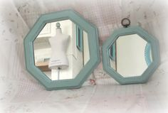 MIRRORS Pair of Light Blue Octagon Robin's Egg Blue Wall Mirrors