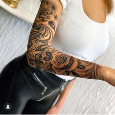 Tattoos in 2020 Arm Sleeve Tattoos For Women, Rose Tattoos For Women, Tribal Sleeve Tattoos, Best Sleeve Tattoos, Tattoo Sleeve Designs, Tattoo Women, Geometric Tattoos, Tribal Tattoos For Women, Forarm Tattoos