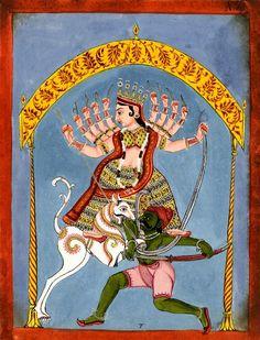 Durgā Mahishasuramardini. Gouache on paper. Inscribed. Rajasthan School. Date 18thC-19thC