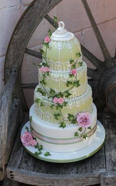 4 Tiered gooseberry green Birdcage wedding cake with pale pink roses - Cake by Cakes o'Licious