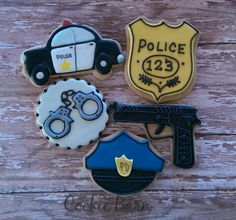 These adorable Police Officer Detective Crime Scene Sugar Cookies are decorated with royal icing. They are soft, vanilla flavored cookies, baked fresh