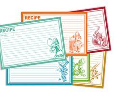 Printable Alice in Wonderland Recipe Cards 4x6 DIY by eloyce929, $3.00    @Kristina Marrero