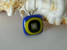 Retro Blue and Yellow square Fused glass pendant by uniquenique, $22.00 #onfireteam #handmade #lacwe #teamfest