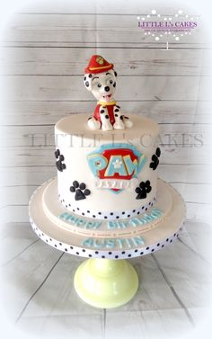 Paw Patrol Birthday Cake with Marshall Topper  Awwh who doesn't love #Dalmations? Well the little boy celebrating his 3rd birthday certainly does as he requested Marshall on his cake  More #cakes to see over at https://www.facebook.com/LittleLsCakes/