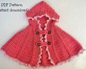 Crochet pattern, crochet hooded cape pattern, one size - 6 months to 2 years, pattern no. 101