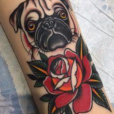 Pug n rose by Matt Cannon Nature Tattoo Sleeve, Lace Tattoo, Nature Tattoos, Sleeve Tattoos, Mandala Tattoo, Tatoo Pug, Tattoo Perro, Trendy Tattoos, Unique Tattoos