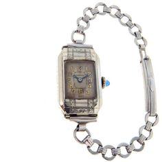 Ladies' Art Deco Watch Sapphire Crown Van Buren ($85) ❤ liked on Polyvore featuring jewelry, watches, engraved watches, antique wrist watch, art deco watches, vintage wrist watch and engraved jewelry