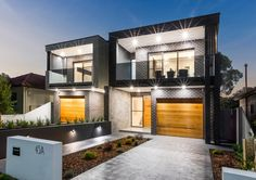 M Cubed Architects - Sydney Duplexes, Designer Houses, Townhouses - Sutherland Shire, Georges River, Bayside Modern Townhouse, Townhouse Designs, House Layout Plans, House Layouts, Modern Exterior House Designs, Modern House Design, Duplex House Design, Apartment Design, Facade House