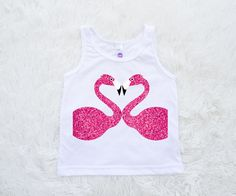 Flamingo Birthday heart Toddler Tank Youth tank top white by SofSBoutique