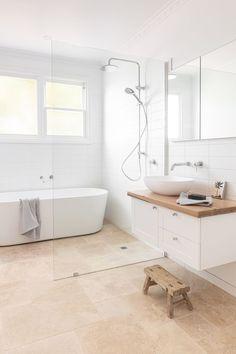 Timber Bathroom Vanities, Travertine Bathroom, Timber Vanity, White Bathroom Tiles, Bathroom Vanity Tops, Laundry In Bathroom, Bathroom Layout, Bathroom Flooring, Master Bathroom
