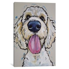 'Goldendoodle Murphy Whimsical' Oil Painting Print on Canvas East Urban Home Size: 66 cm H x cm W cm D Canvas Artwork, Canvas Art Prints, Painting Prints, Painting Art, Art Sport, Dog Paintings, Leonid Afremov Paintings, Whimsical Art, Dog Art