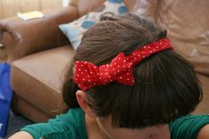Red and White Polka Dot Elastic Headband with Matching Bow.