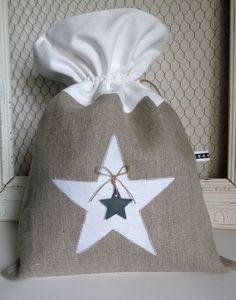 LO002 pochon en lin étoile-gimagea Burlap Lace, Star Wars, Fabric Bags, Handmade Bags, Creations, Quilts, Tote Bag, Sewing, Crafts