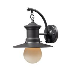 Outdoor Wall Light with Amber Glass in Graphite Finish | 42406/1 | Destination Lighting