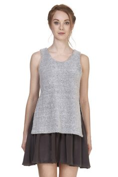 A cozy dress with a sweater overlay on top of a Fit-&-Flare dress featuring a jersey tank at top and a flared silk crepe de chine skirt. #sweaterdress #cozy #falldresses
