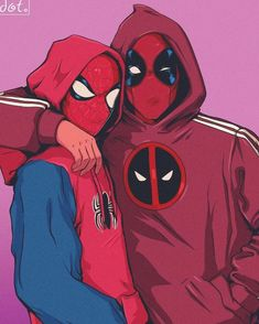 Deadpool Y Spiderman, Cute Deadpool, Spiderman Art, Amazing Spiderman, Spiderman Hoodie, Deadpool Fan Art, Deadpool Kawaii, Deadpool Wallpaper, Marvel Fan Art