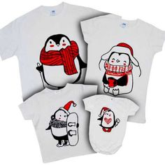 """Набор новогодних футболок """"Пингвины нарисованные"""" (белый)"""