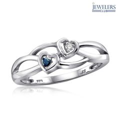 Genuine Blue & White Diamond Accent Heart-to-Heart Ring in Sterling Silver at 84% Savings off Retail!