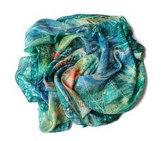 Large scarf square boho. Silk batik scarf. Teal by SilkForPassion